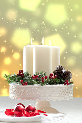 Christmas Candle Decoration Print by Amanda Elwell