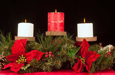 Christmas Candle Trio Art Print by Kenneth Sponsler