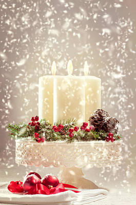 Baubles Photograph - Christmas Candles by Amanda Elwell