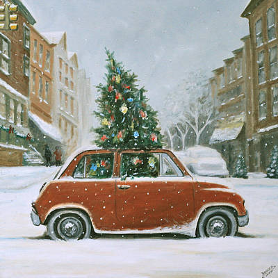 Painting - Christmas Car by Branden Hochstetler
