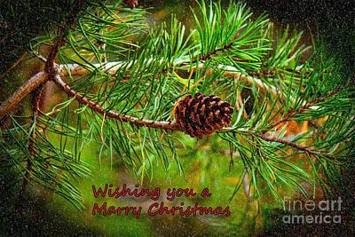 Photograph - Christmas Card   Pine Cone by Sandra Clark