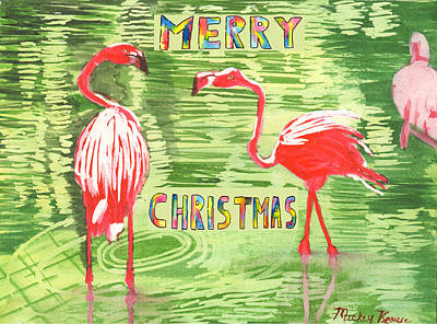 Painting - Christmas Card 2013 by Mickey Krause