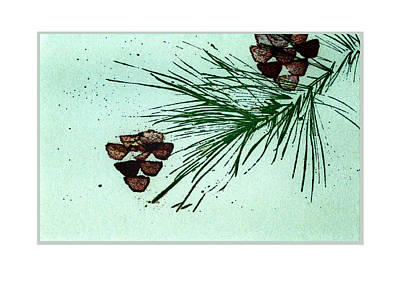 Pine Trees Mixed Media - Christmas Card 3 by Ann Powell