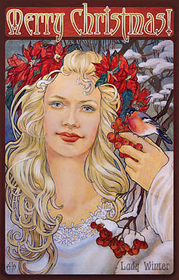 Christmas Card Art Nouveau Style Art Print by Irina Effa