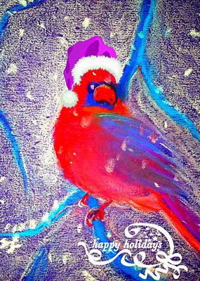 Christmas Card Cardinal In Snow Art Print by Sue Jacobi
