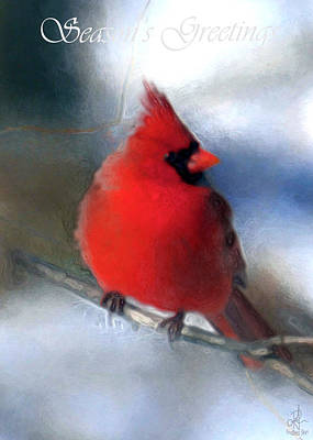 Digital Art - Christmas Card - Cardinal by Pennie McCracken