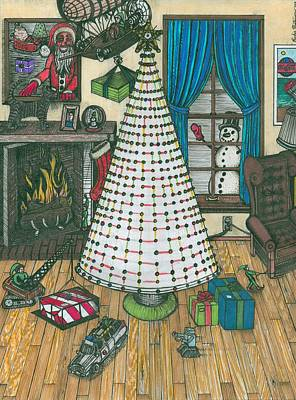 Christmas Card Drawing Art Print