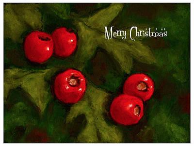 Pastel - Christmas Card Hawthorn Berries by Joyce Geleynse