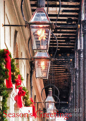 Gas Lamp Photograph - Christmas Card New Orleans by Kathleen K Parker