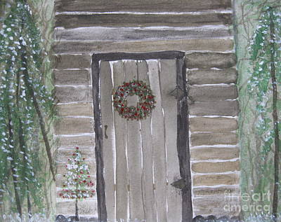 Christmas Card No.3 Rustic Cabin Art Print