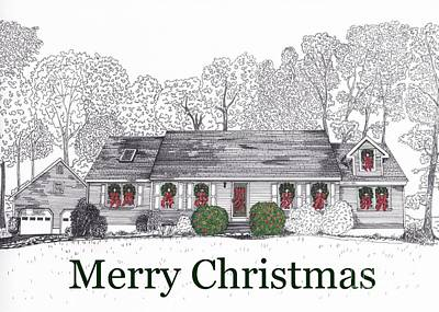 Drawing - Christmas Card One by Michelle Welles