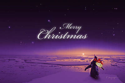 Xmas Cards Digital Art - Christmas Card - Penguin Purple by Cassiopeia Art