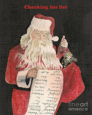 Painting - Christmas Card - Santa Checking His List by Jan Dappen
