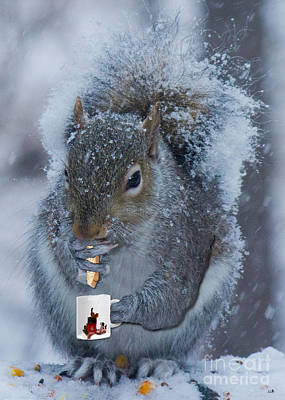 Biscotti Photograph - Christmas Card Squirrel W Coffee And Biscotti by Sandra Clark