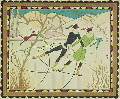 Winter Sports Drawing - Christmas Card With Figure Skaters by American School