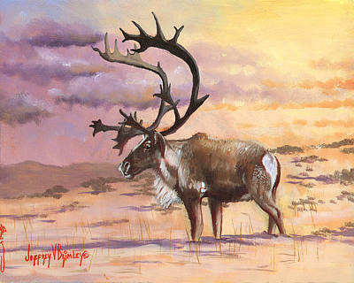 Painting - Christmas Caribou by Jeff Brimley