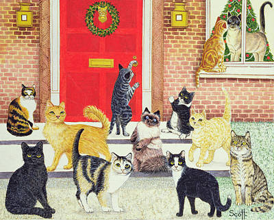 Humorous Cat Painting - Christmas Carols by Pat Scott