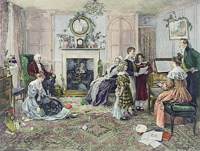 Singing Drawing - Christmas Carols by Walter Dendy Sadler