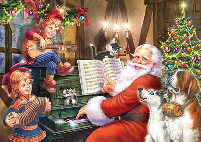 Domestic Animals Digital Art - Christmas Carols by Zorina Baldescu