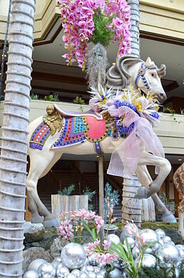 Photograph - Christmas Carousel Prancing Steed by Mary Deal