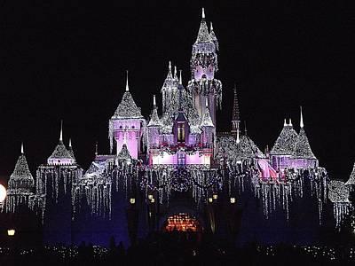 Christmas Castle Night Art Print
