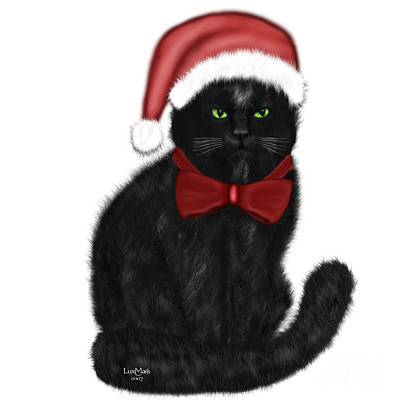 Painting - Christmas Cat Isabeau by Renate Janssen