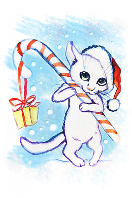 Christmas Cat With A Sweet Watercolor Card Art Print