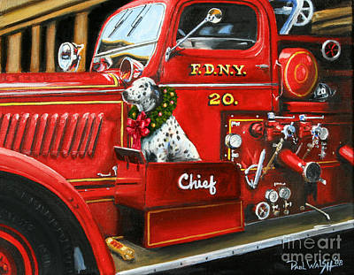 Fdny Painting - Christmas Chief by Paul Walsh