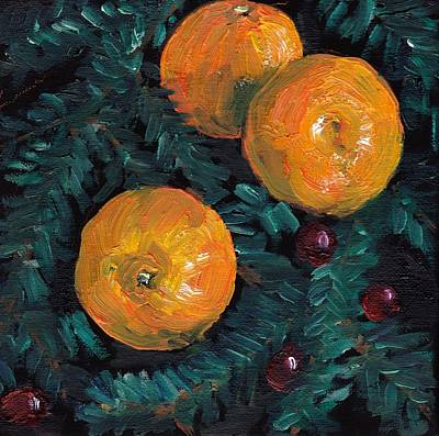 Fruit Tree Art Painting - Christmas Clementines And Cranberries by Julie Galante