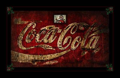 Weathered Coca Cola Sign Photograph - Christmas Coca Cola 1881 Santa by John Stephens