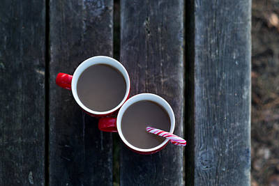 Photograph - Christmas Coffee Cup With Candy Cane by Aldona Pivoriene