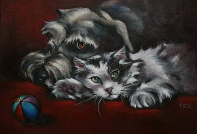 Kitten Painting - Christmas Companions by Cynthia House