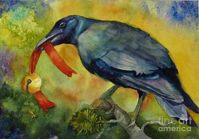 Christmas Corvus Original by Judi Nyerges