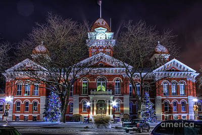 Indiana Trees Photograph - Christmas Courthouse by Scott Wood