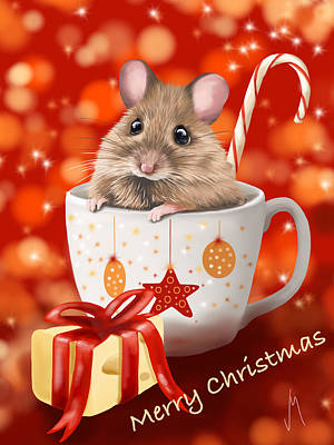Ipad Painting - Christmas Cup by Veronica Minozzi