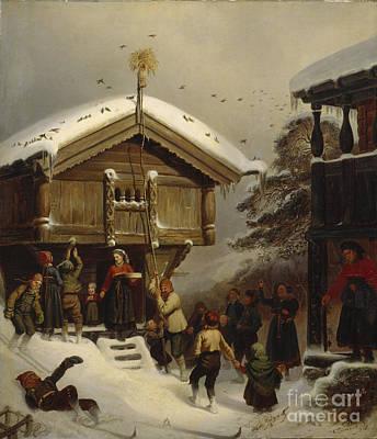 Ski Painting - Christmas Custom by Adolph Tidemand