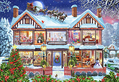 Christmas Squirrel Wall Art - Painting - Christmas Cutaway House American Variant by MGL Meiklejohn Graphics Licensing