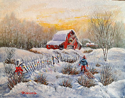 Sun Rays Painting - Christmas Day Sledding by Anthony DiNicola