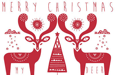 Christmas Colors Photograph - Christmas Deers by Susan Claire