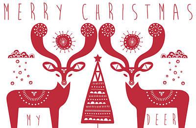 Christmas Deers Art Print