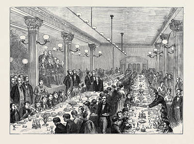 Given Drawing - Christmas Dinner Given To The Newsboys Of Manchester 1874 by English School