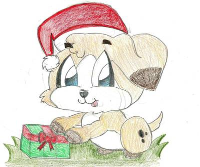 Drawing - Christmas Puppy by Raquel Chaupiz