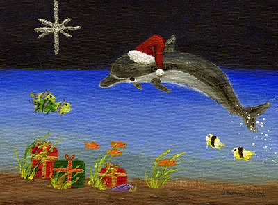 Christmas Dolphin And Friends Art Print by Jamie Frier