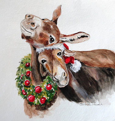 Christmas Donkeys Art Print by Carole Powell