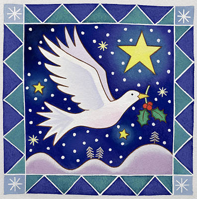 Christmas Card Painting - Christmas Dove  by Cathy Baxter