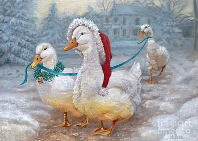 Snow Geese Painting - Christmas Ducks by Susan Kathryn Peck