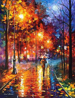 Christmas Emotions - Palette Knife Oil Painting On Canvas By Leonid Afremov Original by Leonid Afremov