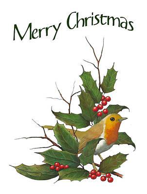 Mixed Media - Christmas English Robin Holly by Joyce Geleynse