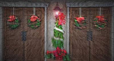 Lamp Post Mixed Media - Christmas Entrance by Steve Ohlsen