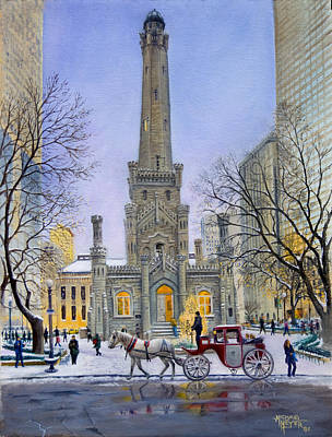 Water Tower Place Painting - Christmas Eve At Water Tower Square by Michael Meyer